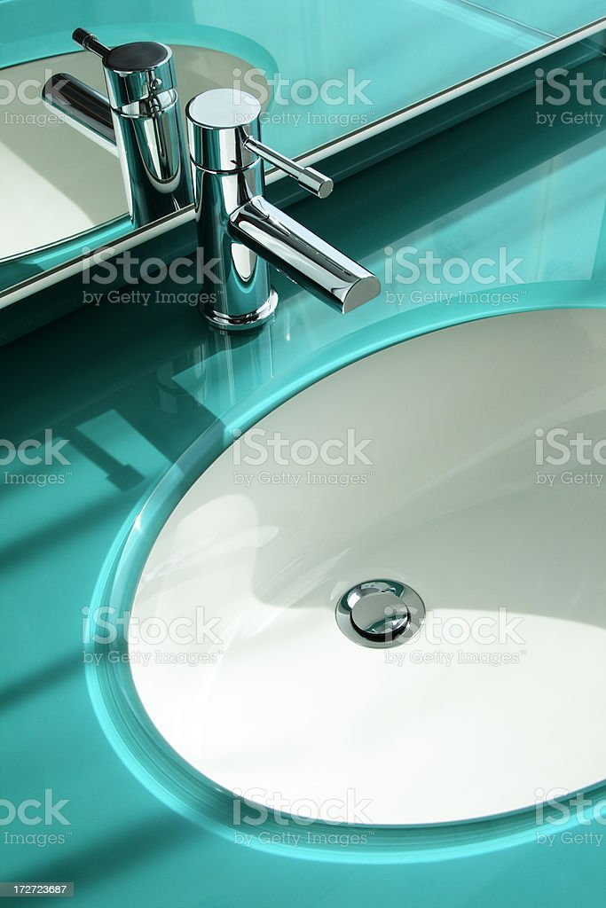 modern washbassin, faucet, and mirror royalty-free stock photo