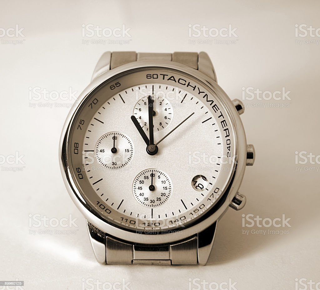 Modern Watch - isolated, sepia royalty-free stock photo