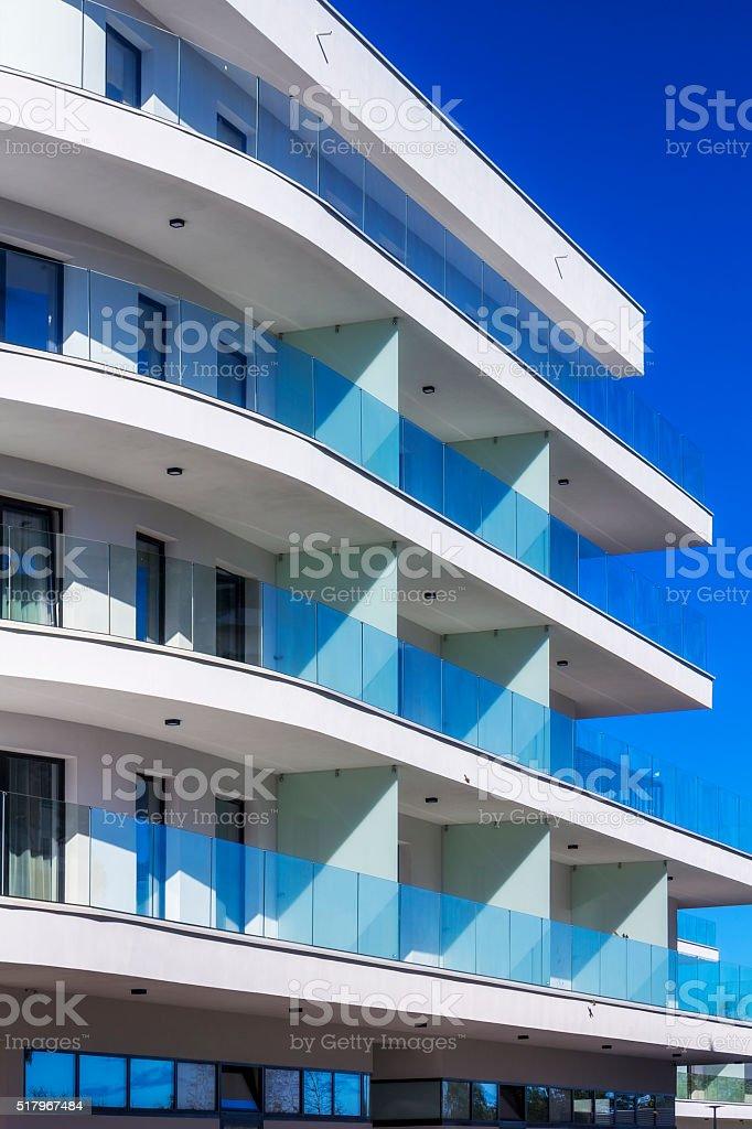 Modern white apartment building stock photo