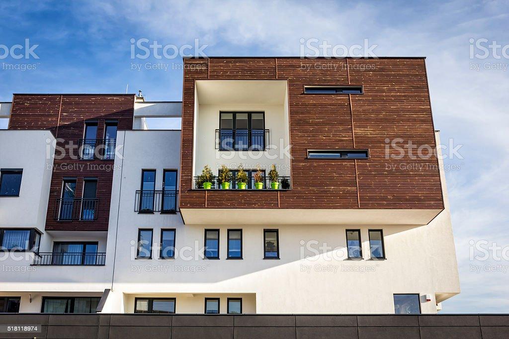 Modern white apartment building, Poland stock photo