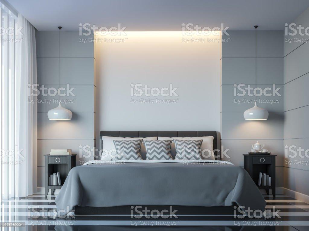 Modern white bedroom minimal style 3D rendering Image stock photo