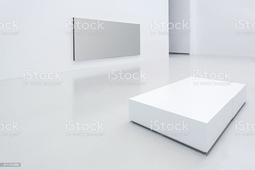 Modern white gallery stock photo