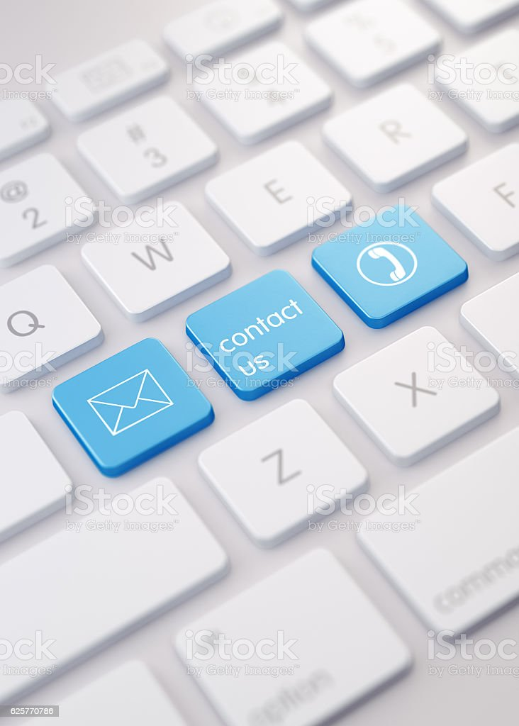 Modern White Keyboard wih Blue Colored Contact Us Buttons stock photo