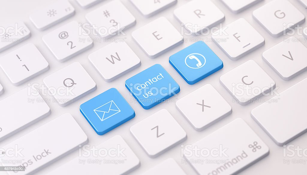 Modern White Keyboard wih Three Blue Colored Contact Us Buttons stock photo