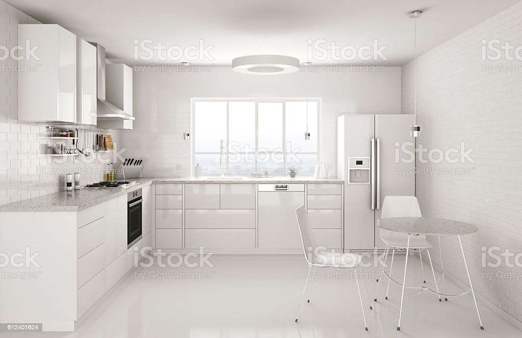 Modern white kitchen interior 3d rendering stock photo