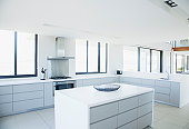 Modern, white kitchen