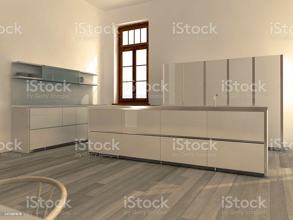 Modern white kitchen stock photo