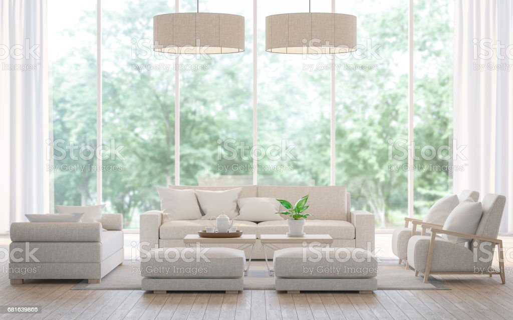 Modern white  living room in the forest 3d rendering image stock photo