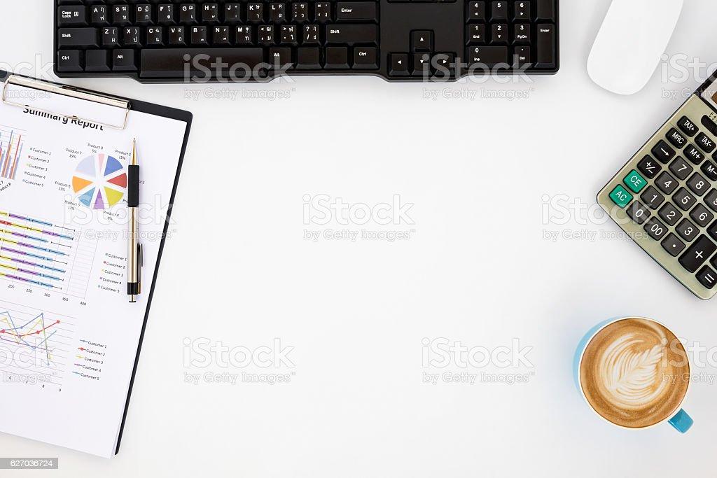 Modern White office desk table stock photo