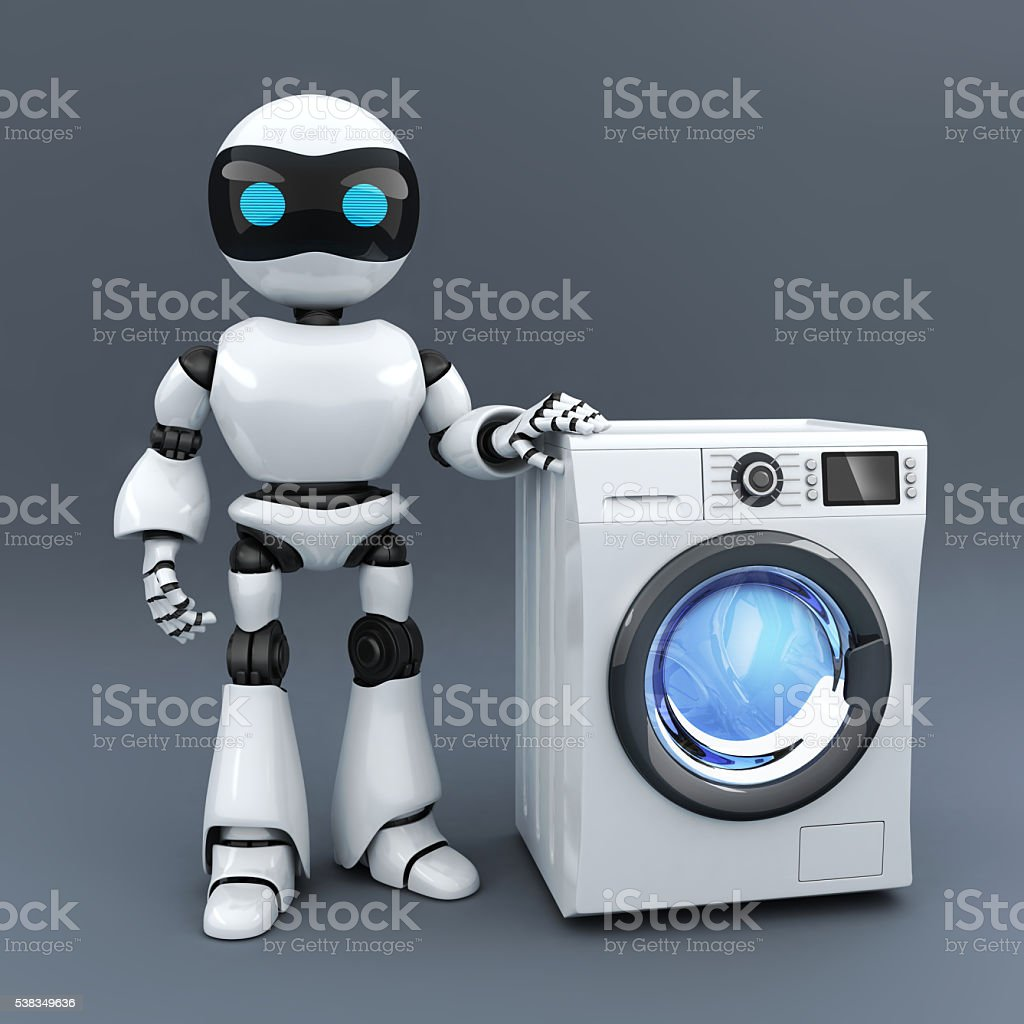Modern white robot and washer stock photo