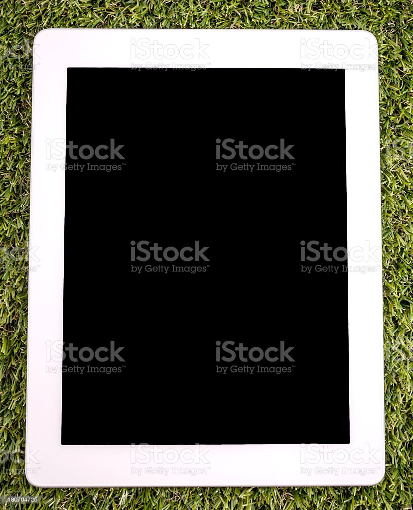 Modern white tablet pc on grass stock photo