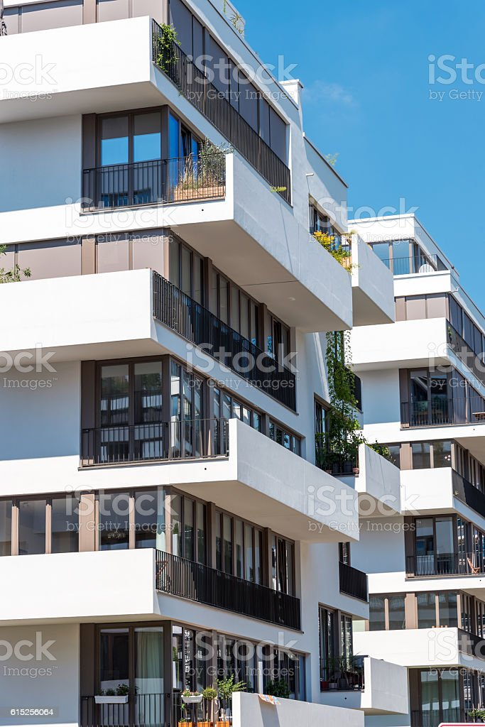 Modern white townhouses in Berlin stock photo