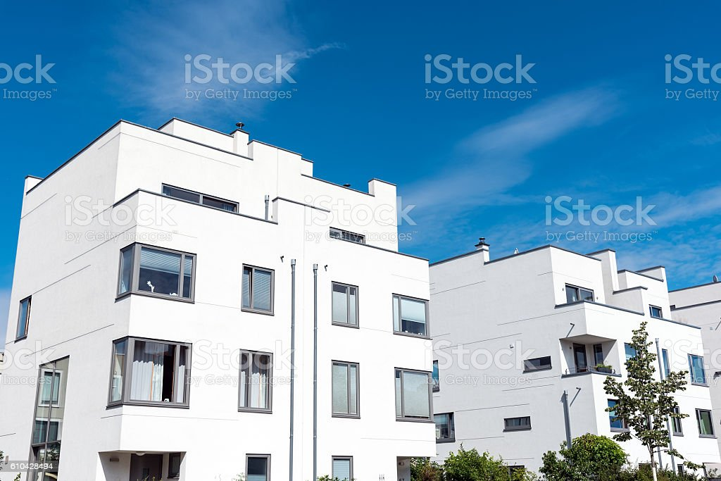 Modern white townhouses in Germany stock photo