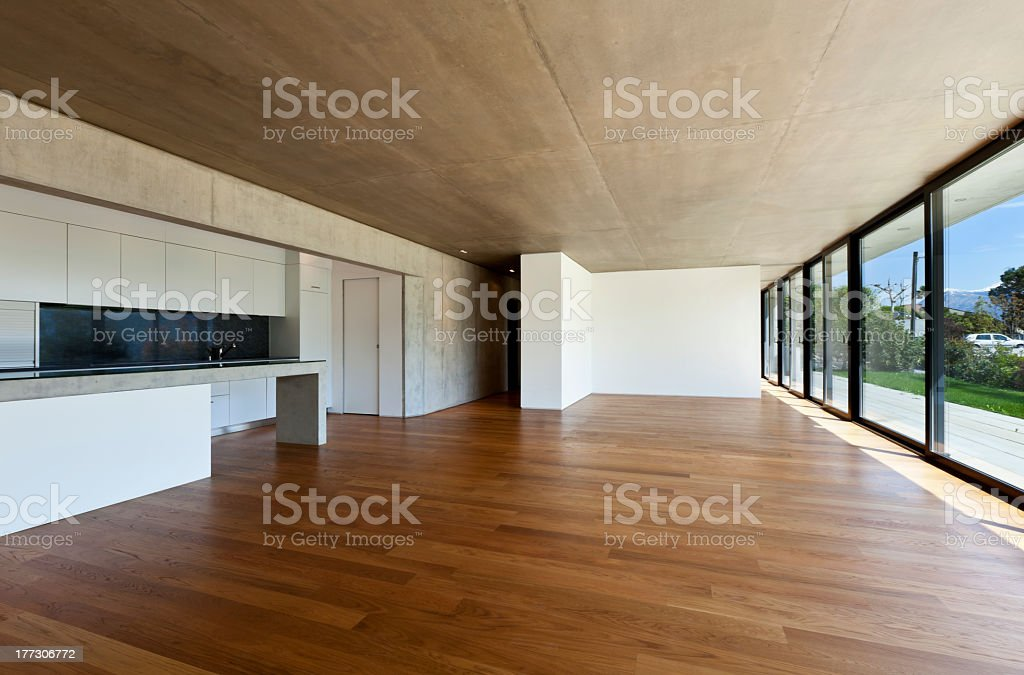 A modern wide open kitchen space stock photo