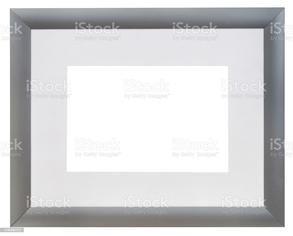 modern wide silver picture frame with grey mat stock photo