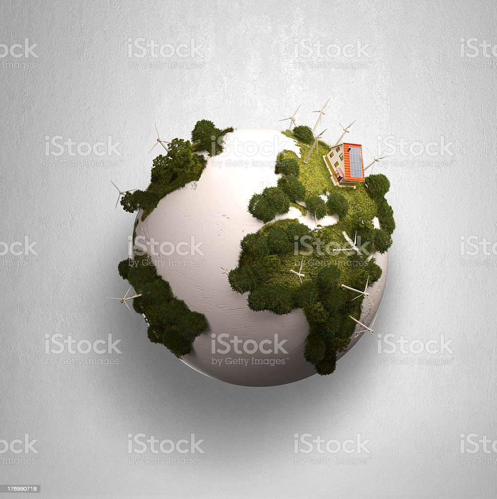 Modern windmills on a green planet. royalty-free stock photo