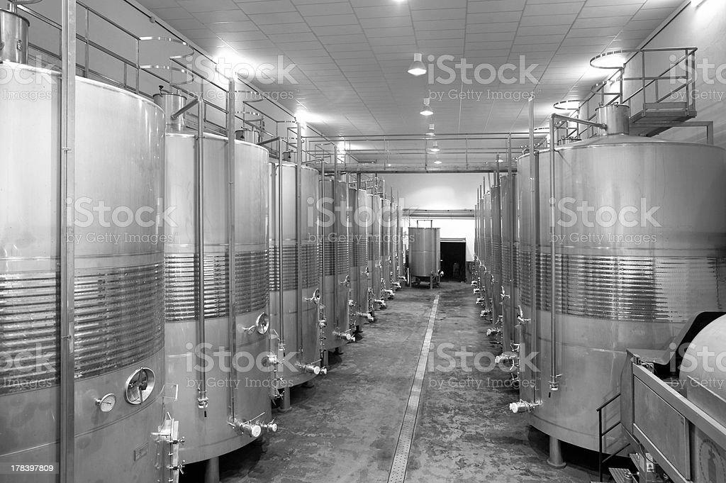 Modern winery fermenting process stock photo
