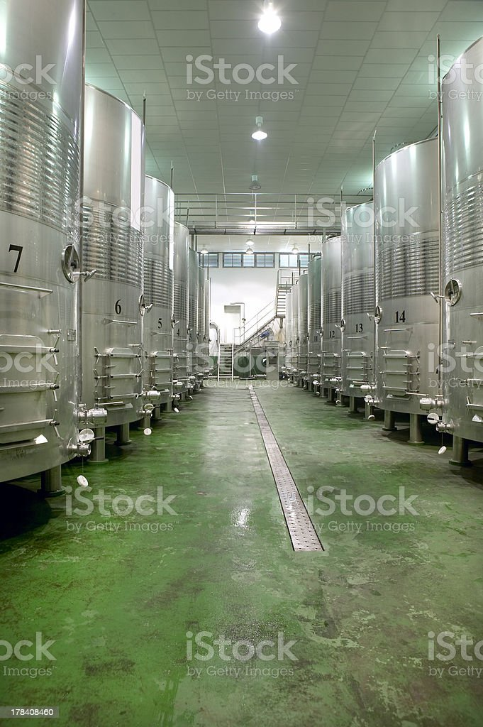 Modern winery fermenting process royalty-free stock photo