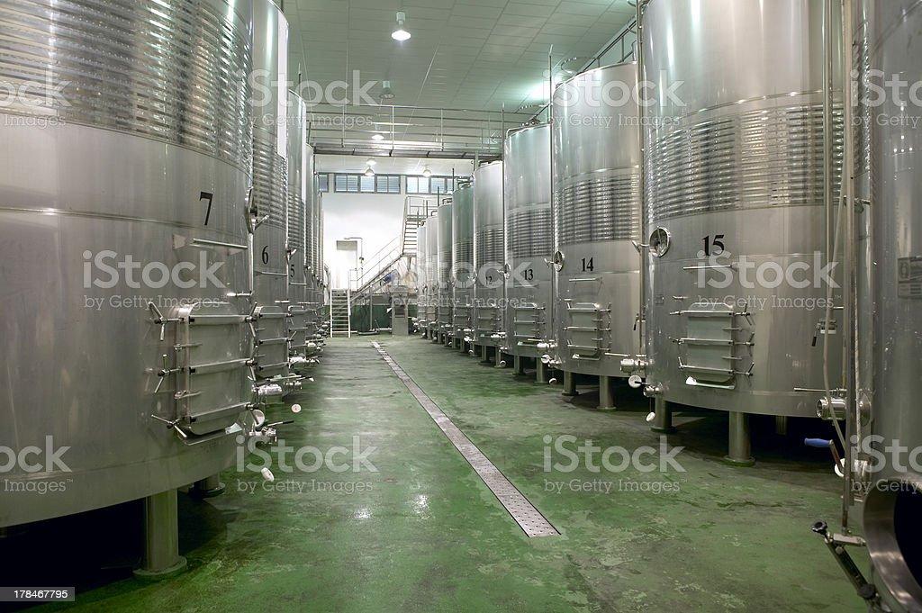 Modern winery fermenting process royalty-free stock photo