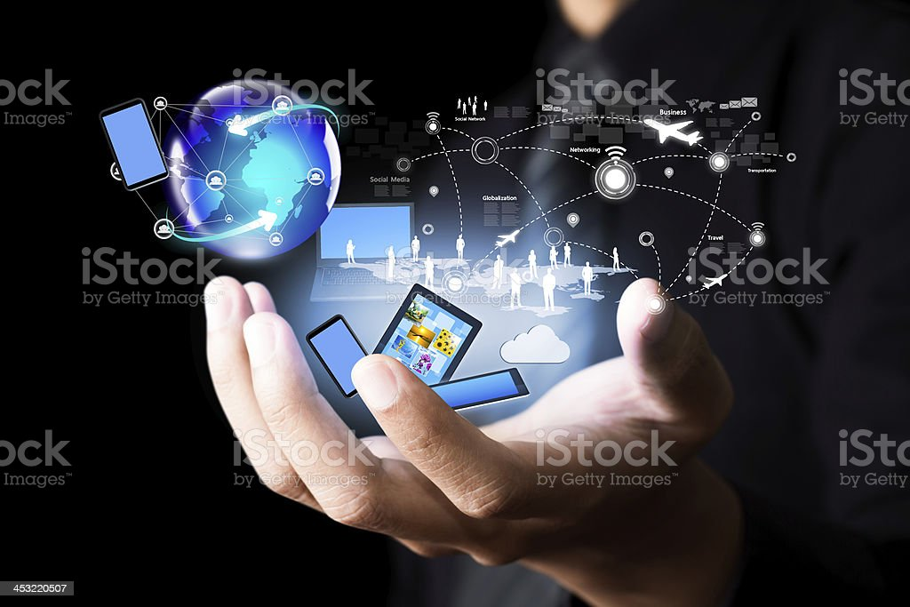 Modern wireless technology and social media stock photo