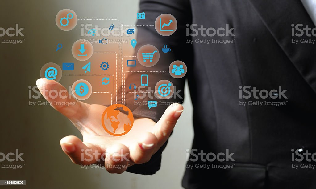 Modern wireless technology illustration with a computer device stock photo