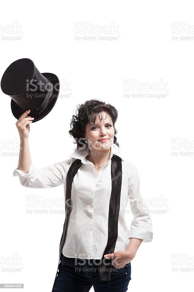 Modern woman posing standing stock photo