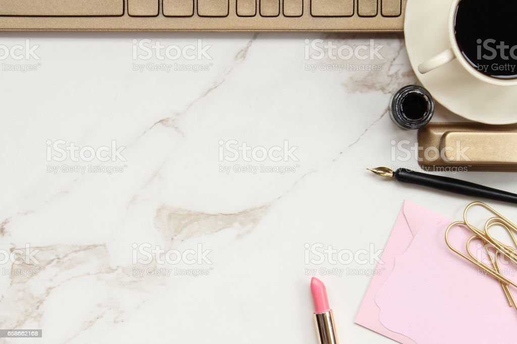 Modern woman's desk stock photo