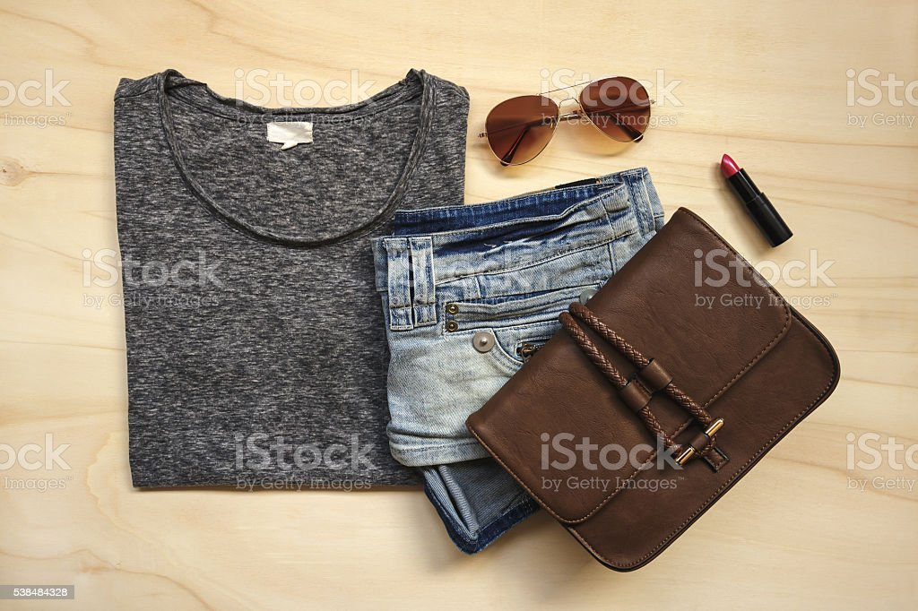 Modern woman's outfit stock photo