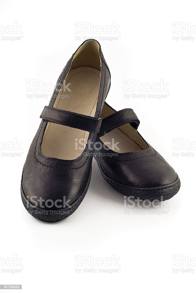 Modern women's leather shoes over white royalty-free stock photo