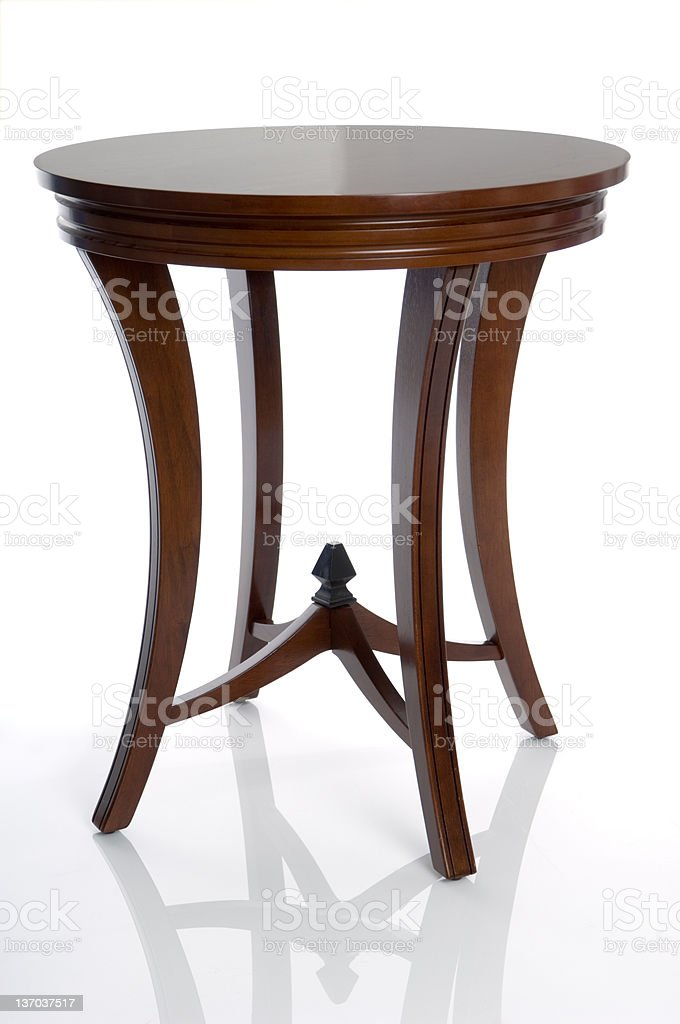 Modern Wooden End Table (Isolated) stock photo