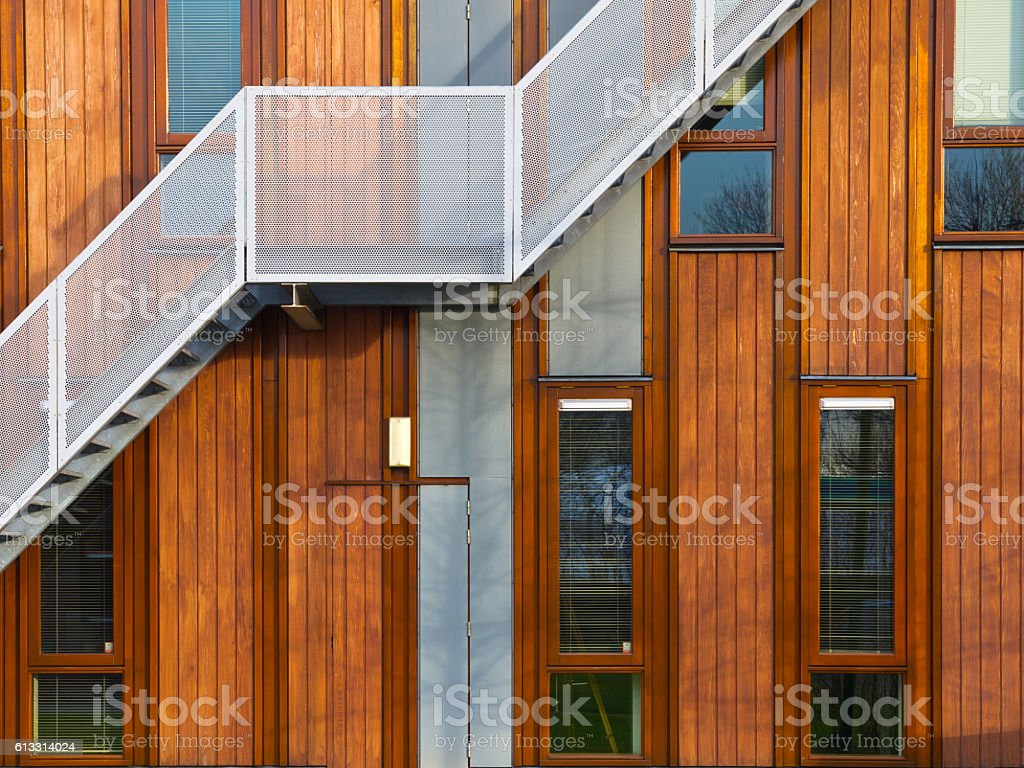 modern wooden facade stock photo