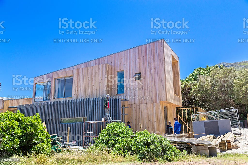 Modern Wooden Smart Home chalet in Scarborough stock photo