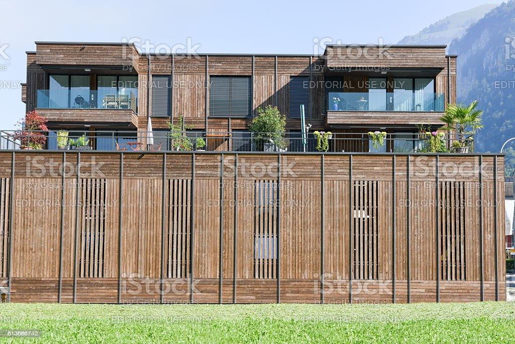 Modern wooden synergy architecture at Wolfenschiessen on the Swi stock photo