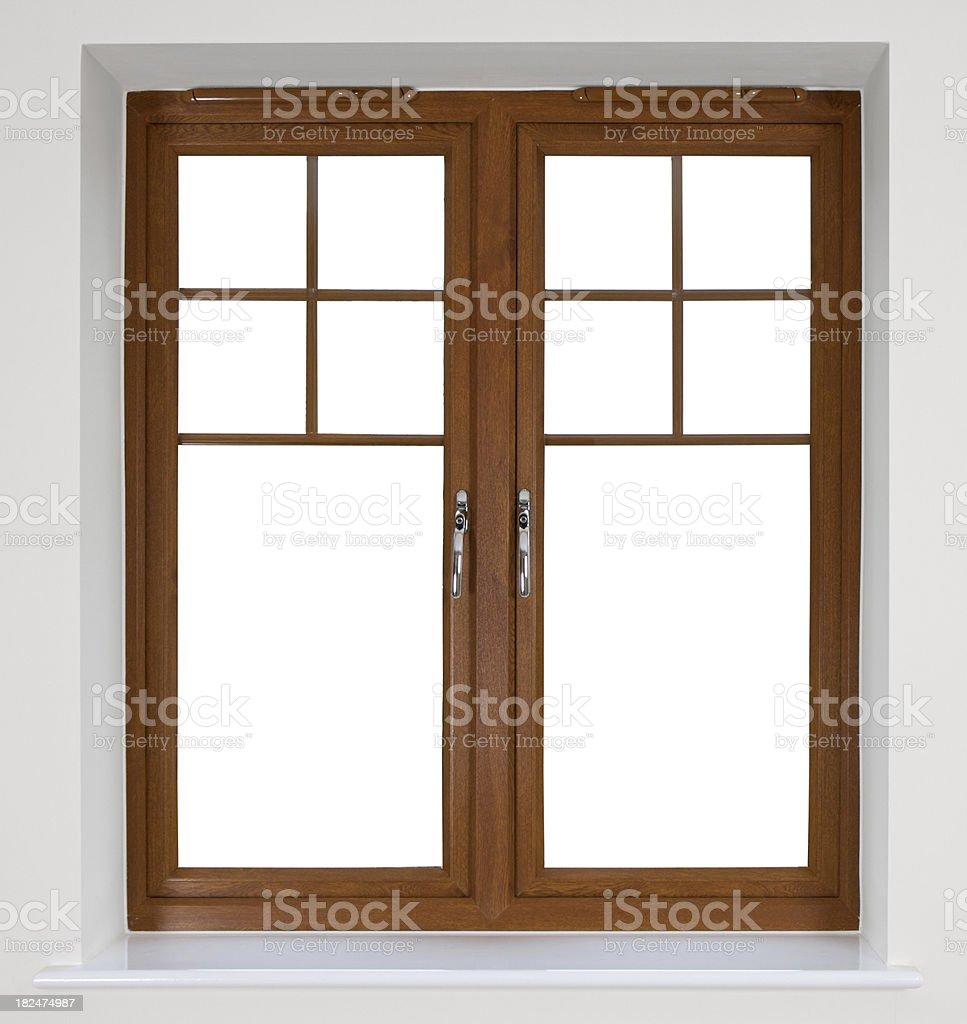 Modern window sill - Modern Wooden Window Frame Royalty Free Stock Photo