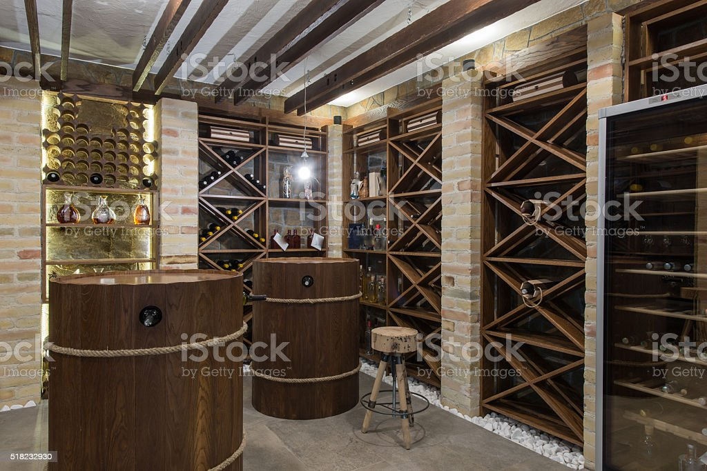 Modern wooden winery or wine cellar stock photo