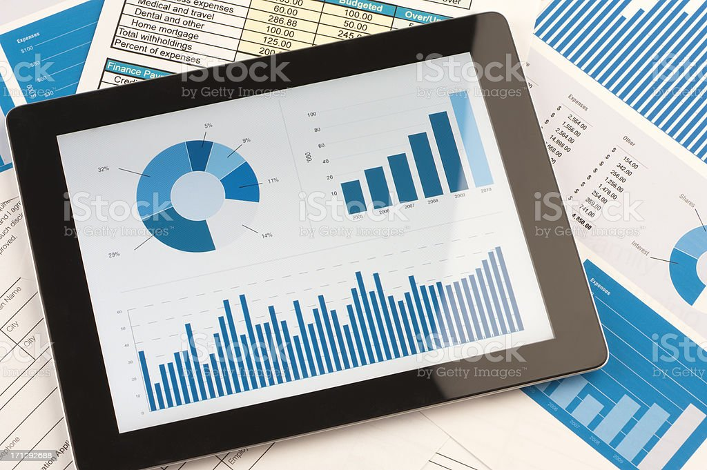 Modern working desk with digital tablet stock photo