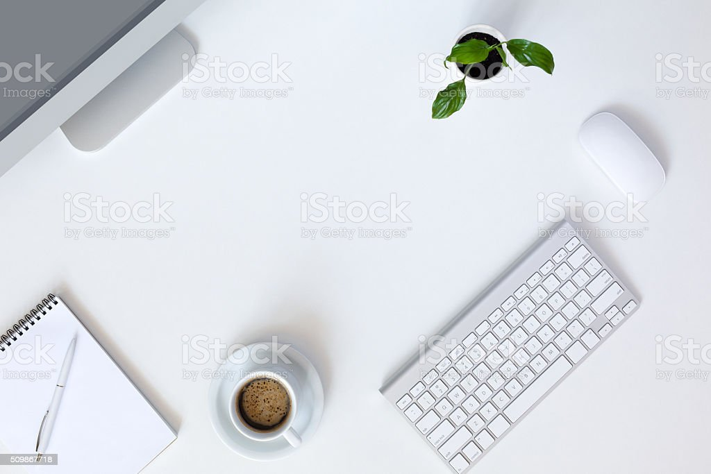 Modern working Place on White Office Desk stock photo
