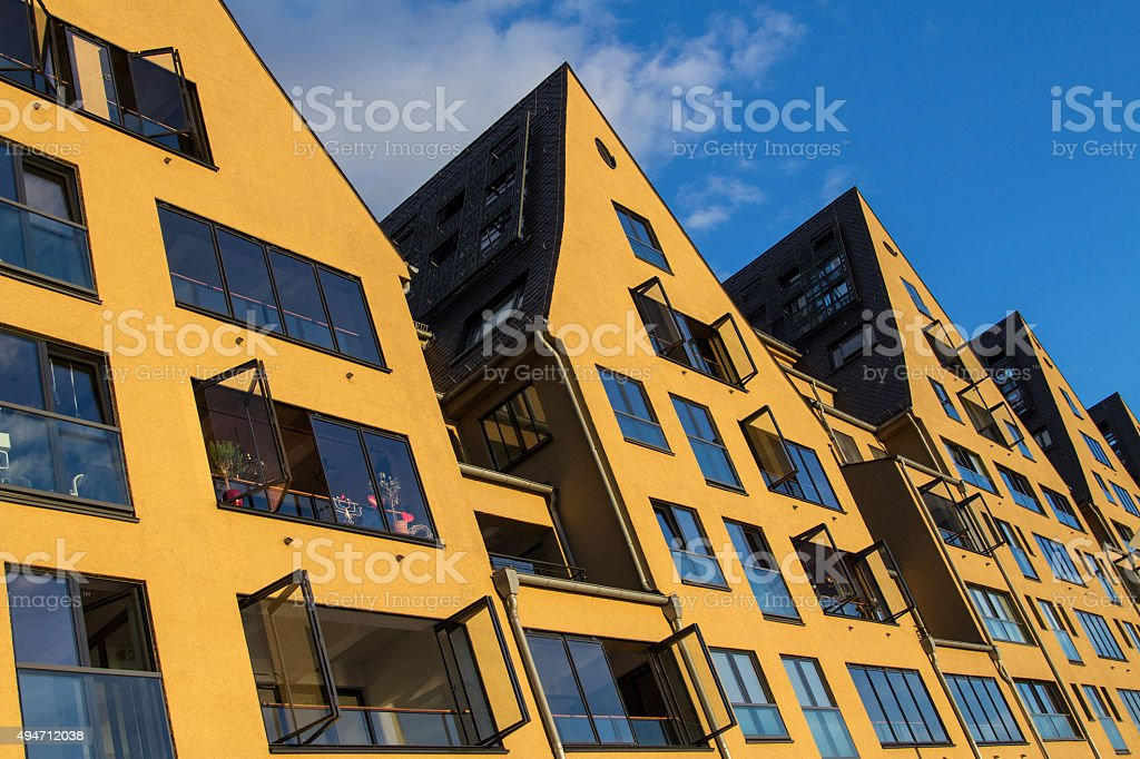 Modern yellow houses stock photo