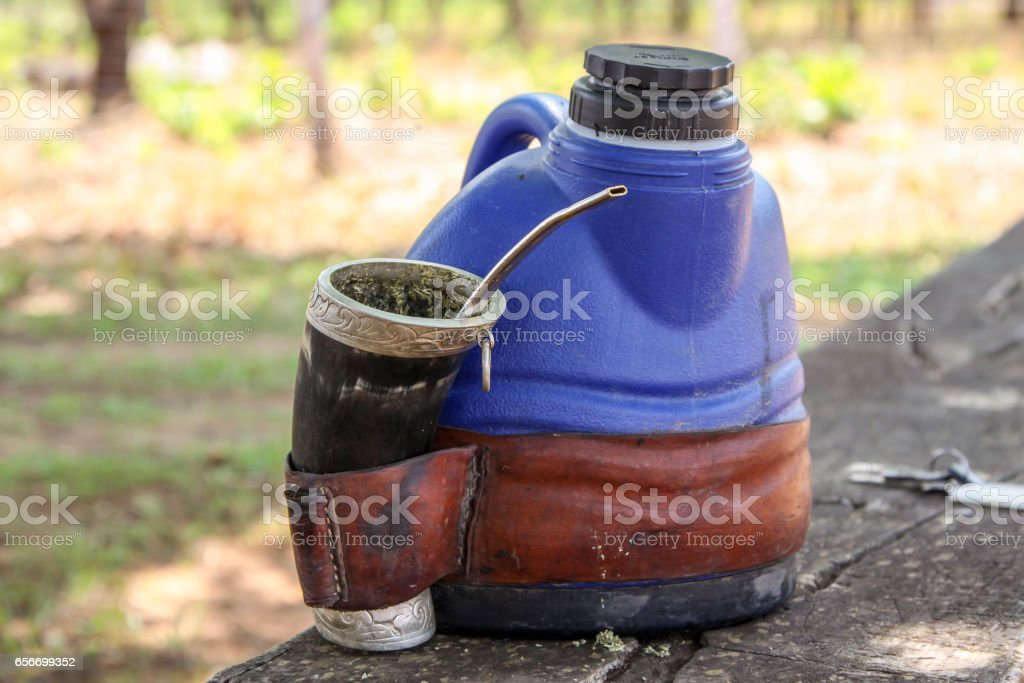 Modern Yerba mate calabash for to go stock photo
