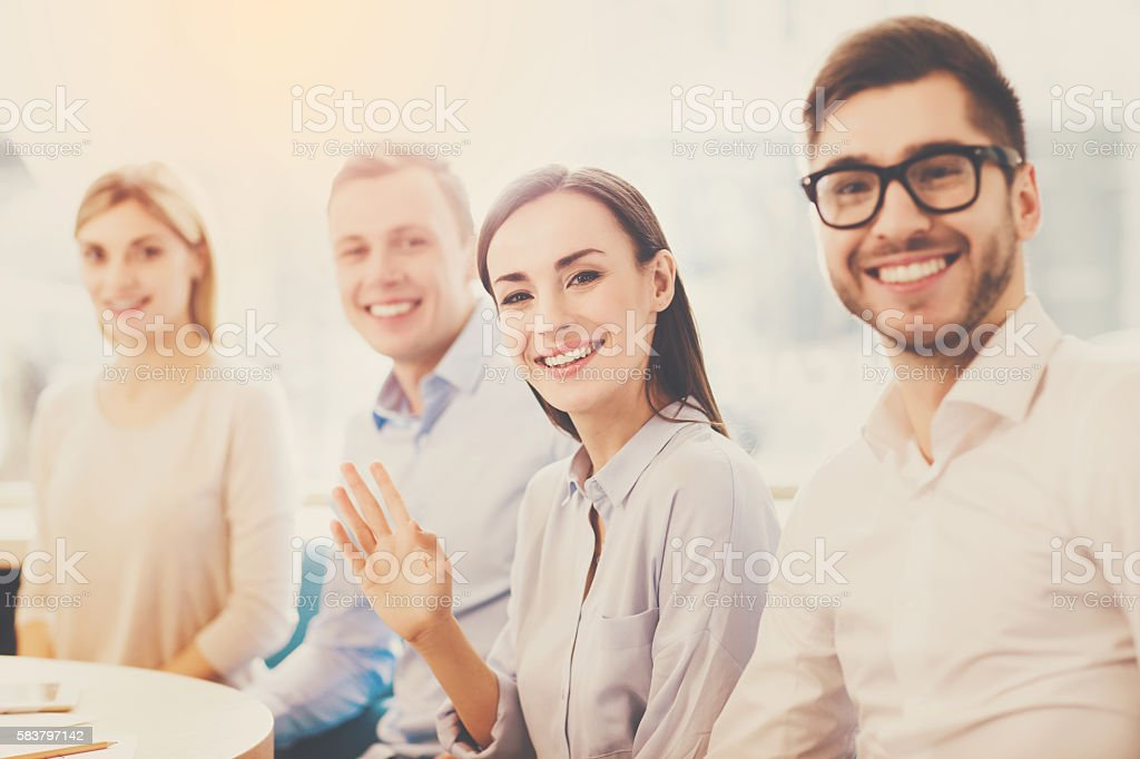 Modern young business people stock photo