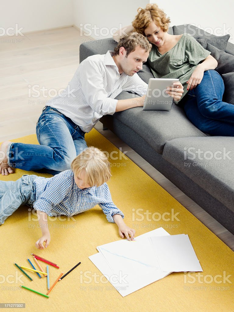 Modern young urban family royalty-free stock photo