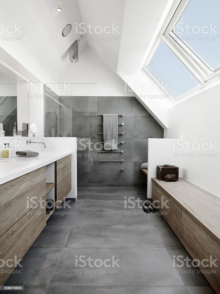 Moderne bathroom with tiles and wood stock photo