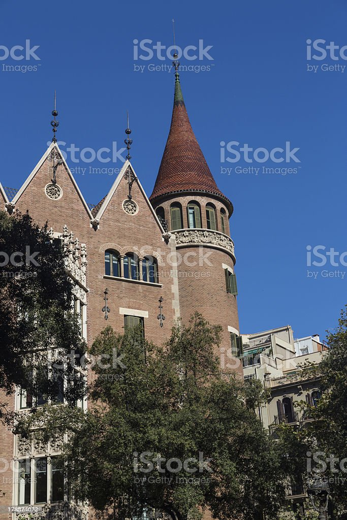 Modernist house like a castle in Barcelona city stock photo