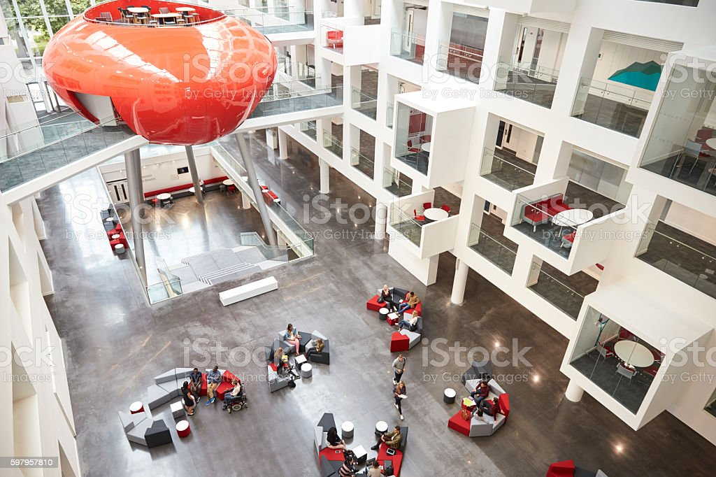 Modernist interior of a university atrium, elevated view stock photo