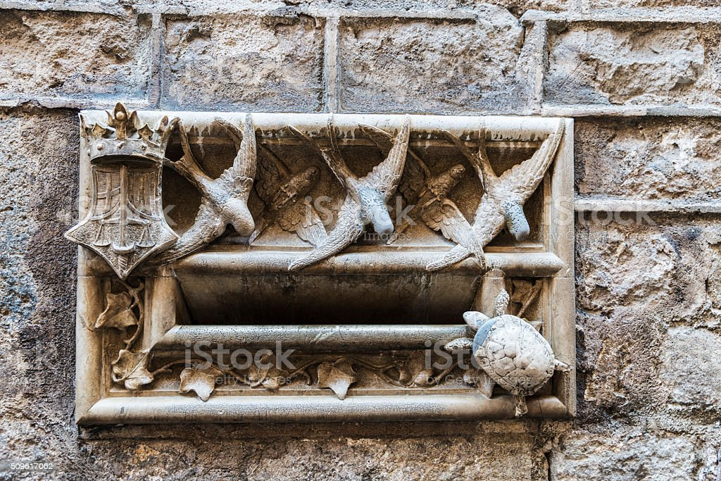 Modernist mailbox made of stone, Barcelona stock photo