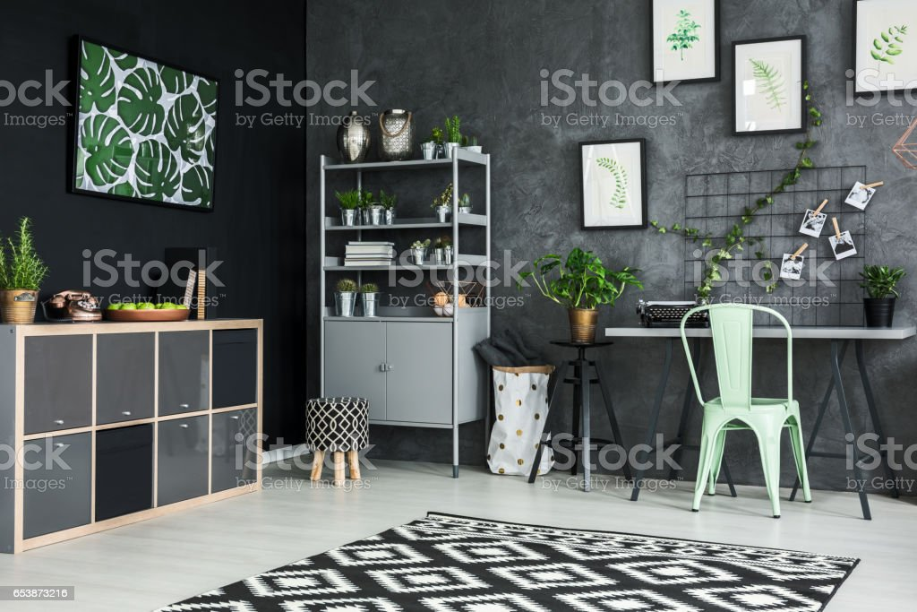 Modernly designed apartment stock photo