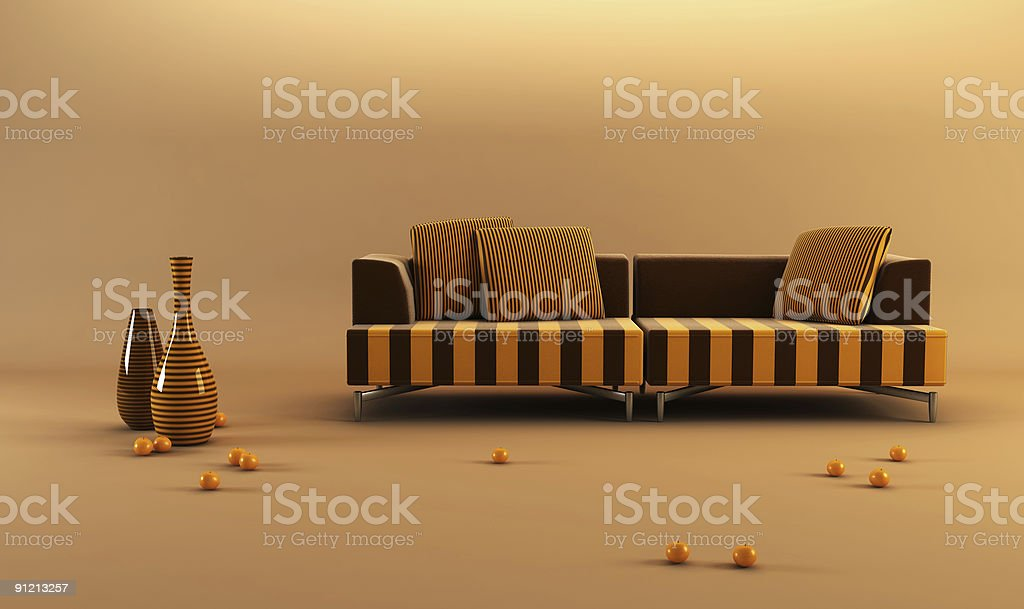 modernstriped couch royalty-free stock photo