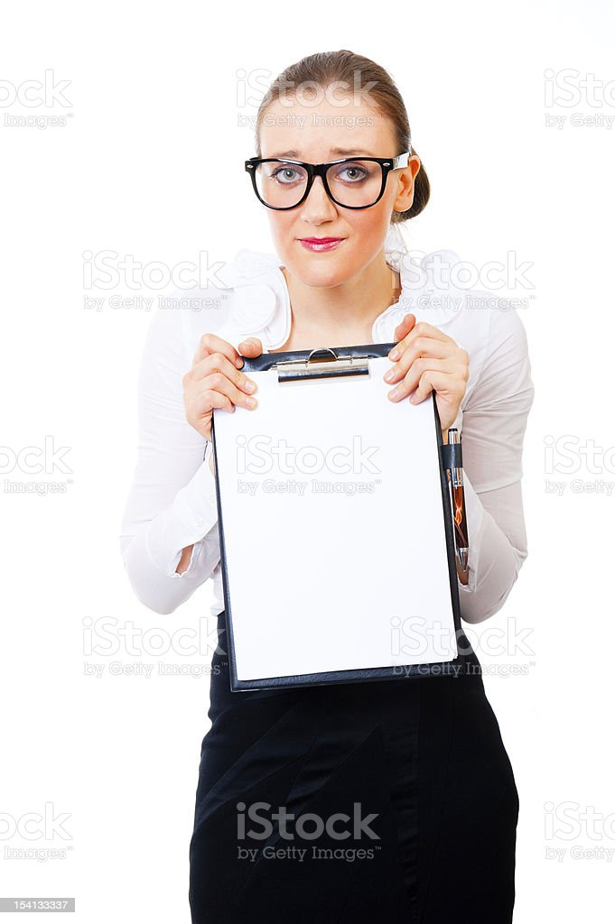 Modest and intelligent business woman royalty-free stock photo