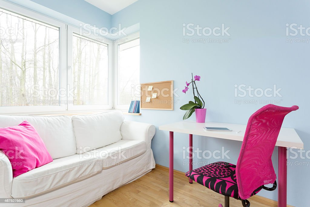 Modest girl's apartment stock photo