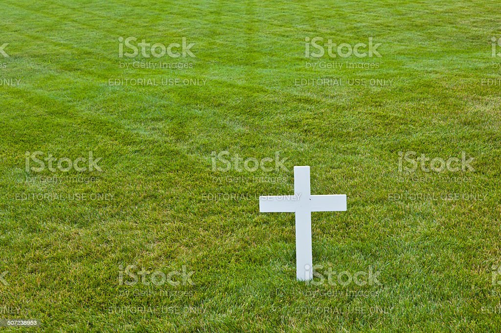 Modest tomb of Robert Kennedy in Arlington National Cemetery stock photo